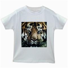 Tiger Bengal Stripes Eyes Close Kids White T Shirts