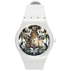 Tiger Bengal Stripes Eyes Close Round Plastic Sport Watch (m)