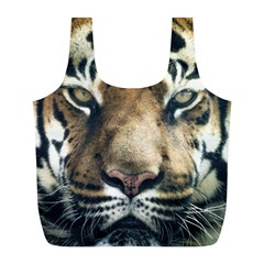 Tiger Bengal Stripes Eyes Close Full Print Recycle Bags (l)