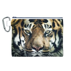 Tiger Bengal Stripes Eyes Close Canvas Cosmetic Bag (l)