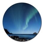 Aurora Borealis Lofoten Norway Round Mousepads Front