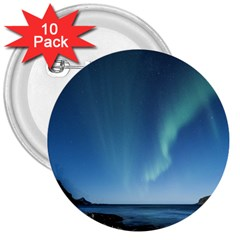 Aurora Borealis Lofoten Norway 3  Buttons (10 Pack)