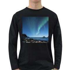 Aurora Borealis Lofoten Norway Long Sleeve Dark T Shirts