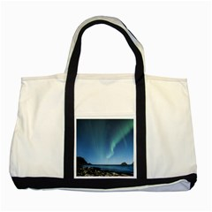 Aurora Borealis Lofoten Norway Two Tone Tote Bag