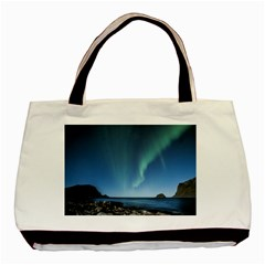 Aurora Borealis Lofoten Norway Basic Tote Bag (two Sides)