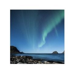 Aurora Borealis Lofoten Norway Small Satin Scarf (square)