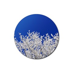 Crown Aesthetic Branches Hoarfrost Rubber Round Coaster (4 Pack)
