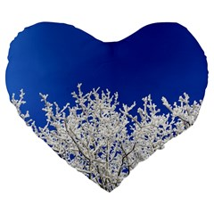 Crown Aesthetic Branches Hoarfrost Large 19  Premium Flano Heart Shape Cushions
