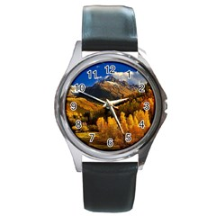 Colorado Fall Autumn Colorful Round Metal Watch