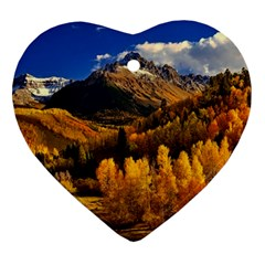 Colorado Fall Autumn Colorful Heart Ornament (two Sides)