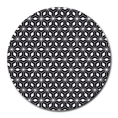 Asterisk Black White Pattern Round Mousepads
