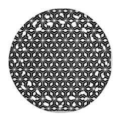 Asterisk Black White Pattern Round Filigree Ornament (two Sides)