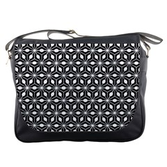 Asterisk Black White Pattern Messenger Bags