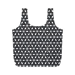 Asterisk Black White Pattern Full Print Recycle Bags (m)