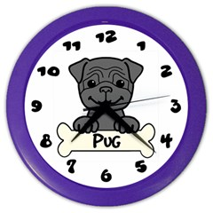 Black Pug With A Bone Wall Clock (color)