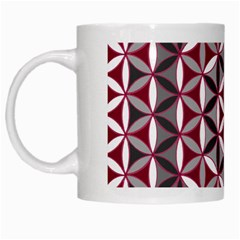 Flower Of Life Pattern Red Grey 01 White Mugs