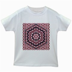 Flower Of Life Pattern Red Grey 01 Kids White T Shirts