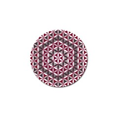 Flower Of Life Pattern Red Grey 01 Golf Ball Marker (4 Pack)