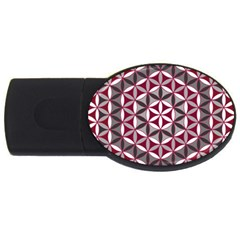 Flower Of Life Pattern Red Grey 01 Usb Flash Drive Oval (4 Gb)