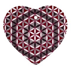 Flower Of Life Pattern Red Grey 01 Heart Ornament (two Sides)