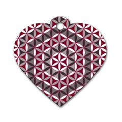 Flower Of Life Pattern Red Grey 01 Dog Tag Heart (one Side)