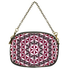Flower Of Life Pattern Red Grey 01 Chain Purses (one Side)