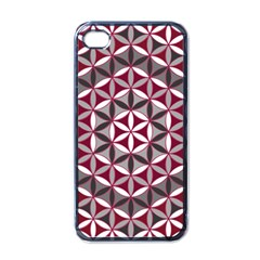 Flower Of Life Pattern Red Grey 01 Apple Iphone 4 Case (black)