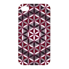 Flower Of Life Pattern Red Grey 01 Apple Iphone 4/4s Hardshell Case