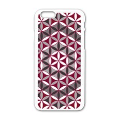 Flower Of Life Pattern Red Grey 01 Apple Iphone 6/6s White Enamel Case