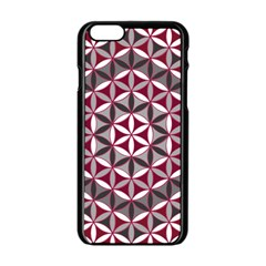 Flower Of Life Pattern Red Grey 01 Apple Iphone 6/6s Black Enamel Case