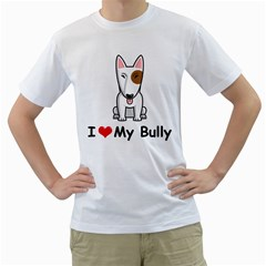 I Love My Bully Dog Men s T Shirt (white) (two Sided)