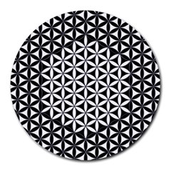 Flower Of Life Pattern Black White 1 Round Mousepads