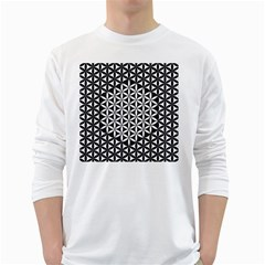 Flower Of Life Pattern Black White 1 White Long Sleeve T Shirts
