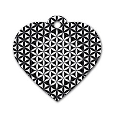 Flower Of Life Pattern Black White 1 Dog Tag Heart (two Sides)