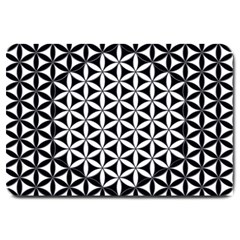 Flower Of Life Pattern Black White 1 Large Doormat