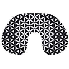 Flower Of Life Pattern Black White 1 Travel Neck Pillows
