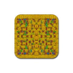 Rainbow Stars In The Golden Skyscape Rubber Square Coaster (4 Pack)