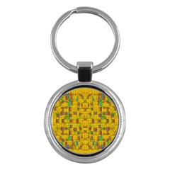 Rainbow Stars In The Golden Skyscape Key Chains (round)