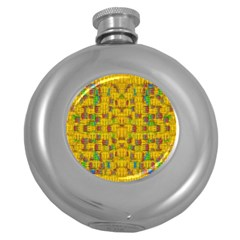 Rainbow Stars In The Golden Skyscape Round Hip Flask (5 Oz)
