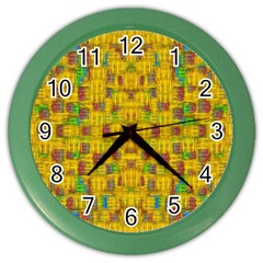 Rainbow Stars In The Golden Skyscape Color Wall Clocks