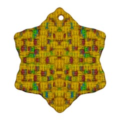 Rainbow Stars In The Golden Skyscape Snowflake Ornament (two Sides)