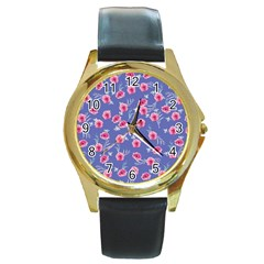 Roses And Roses Round Gold Metal Watch