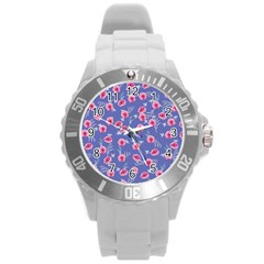 Roses And Roses Round Plastic Sport Watch (l)
