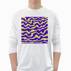 Polynoise Vibrant Royal White Long Sleeve T Shirts