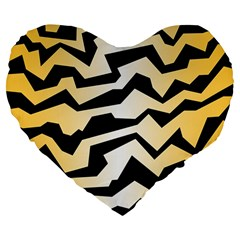 Polynoise Tiger Large 19  Premium Flano Heart Shape Cushions