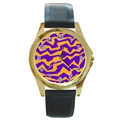 Polynoise Pumpkin Round Gold Metal Watch