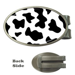 Animal Print Black And White Black Money Clips (oval)