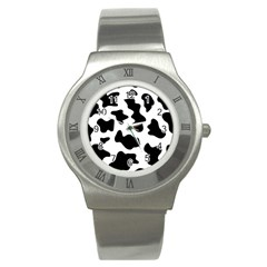 Animal Print Black And White Black Stainless Steel Watch