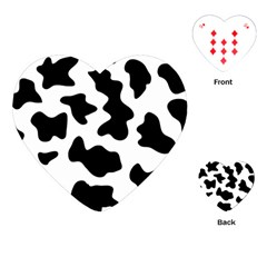 Animal Print Black And White Black Playing Cards (heart)