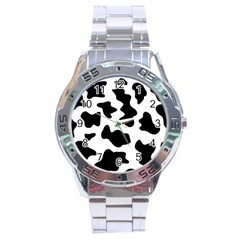 Animal Print Black And White Black Stainless Steel Analogue Watch